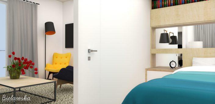 Widok na sypialnię-pokój dzienny